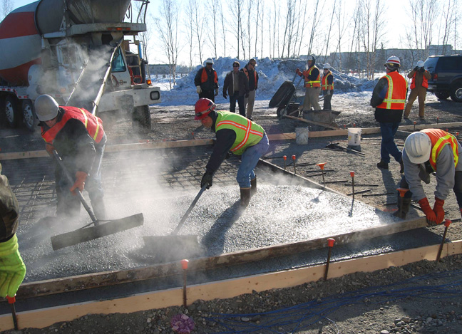 Pouring placing and finishing concrete in cold weather for What temperature to pour concrete outside
