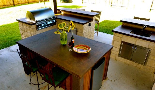 Outdoor concrete table