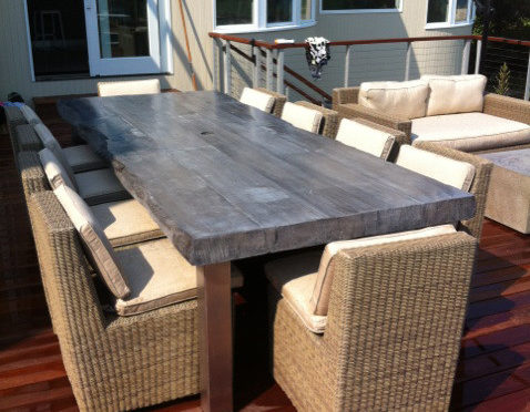 Outdoor Concrete Faux Wood Table by J&M Lifestyles